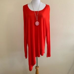 Sejour PLUS sweater top asymmetrical red NWT